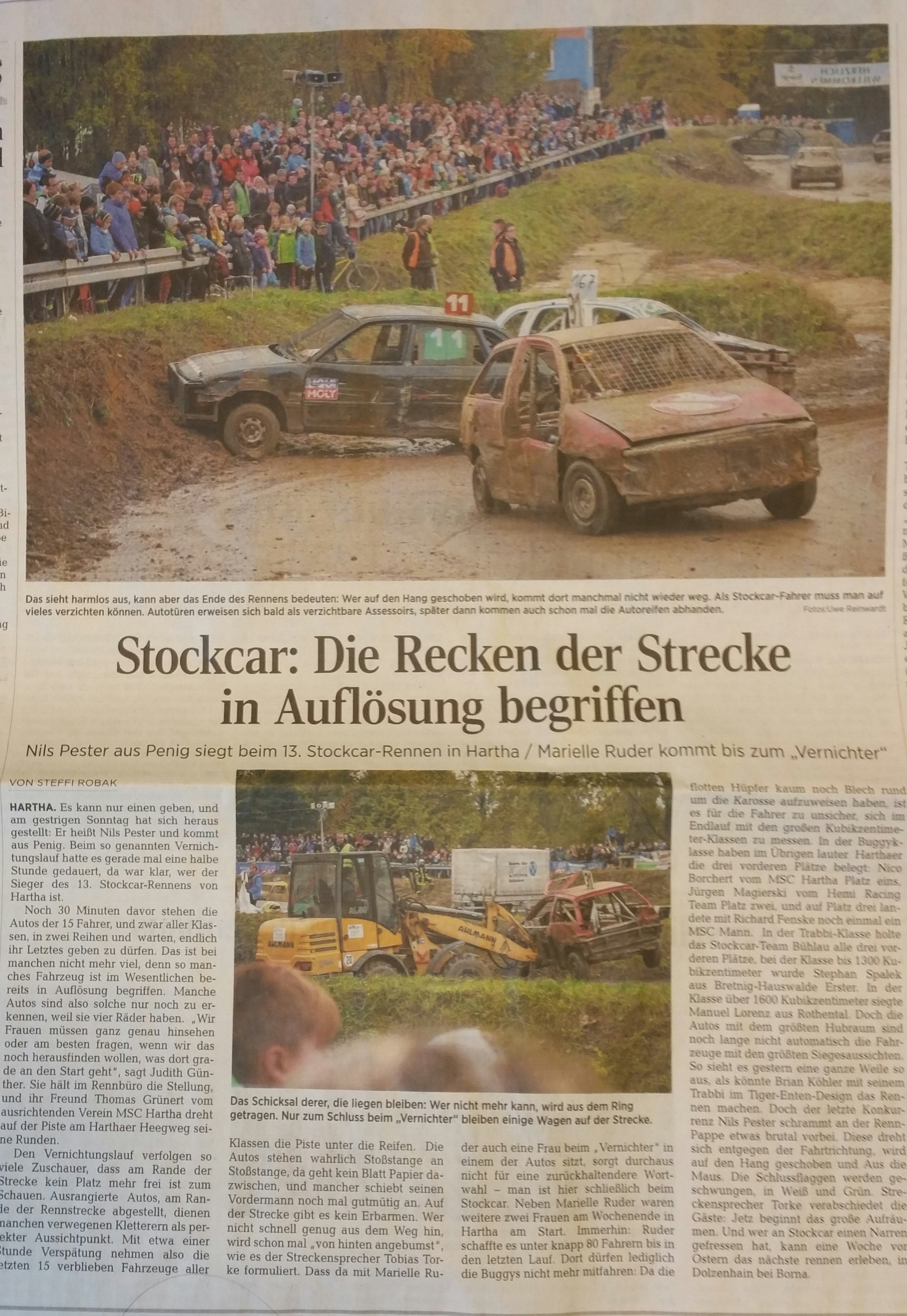 Stock Car Hartha, Döbelner Allgemeine Zeitung 26.10.2015